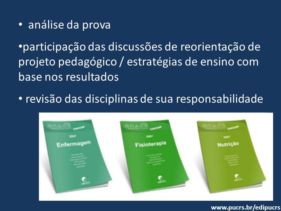 revisão das disciplinas de sua responsabilidade
