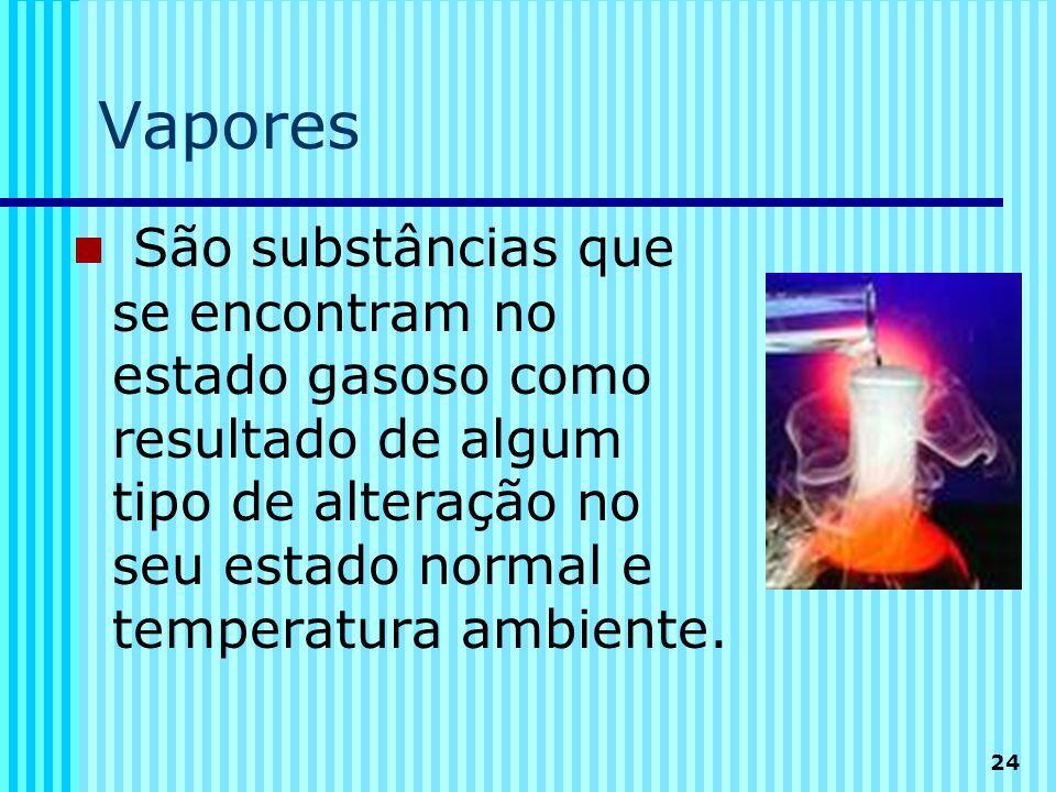 Vapores São substâncias que se encontram no estado gasoso como resultado de algum tipo de alteração no seu estado normal e temperatura ambiente.