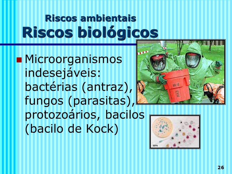 Riscos ambientais Riscos biológicos