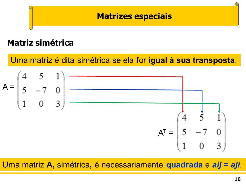 Matrizes especiais Matriz simétrica
