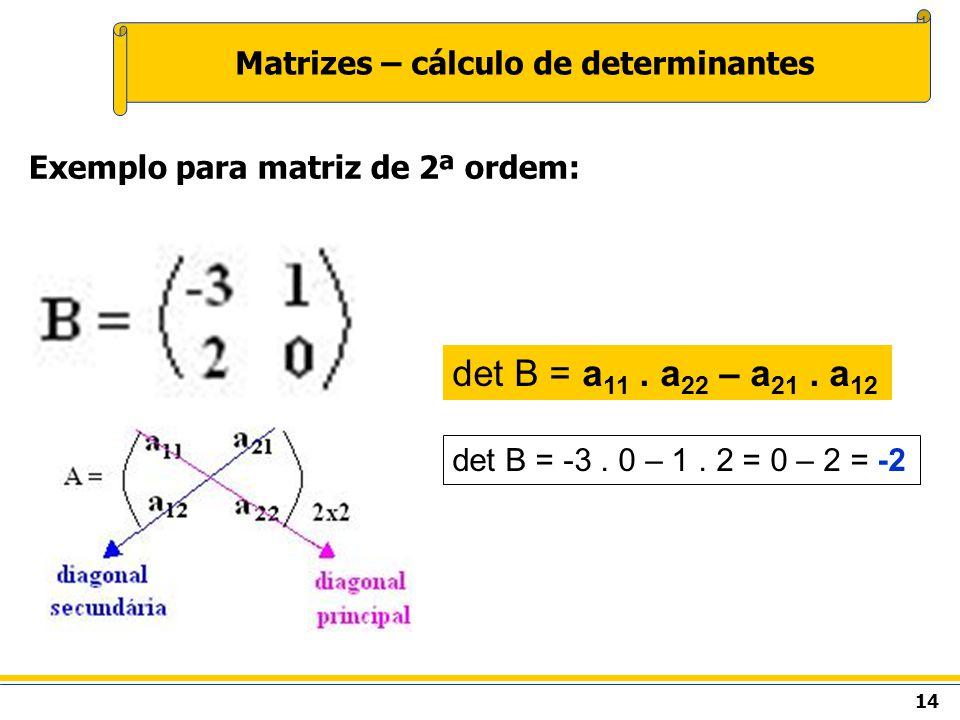 Matrizes – cálculo de determinantes Exemplo para matriz de 2ª ordem: