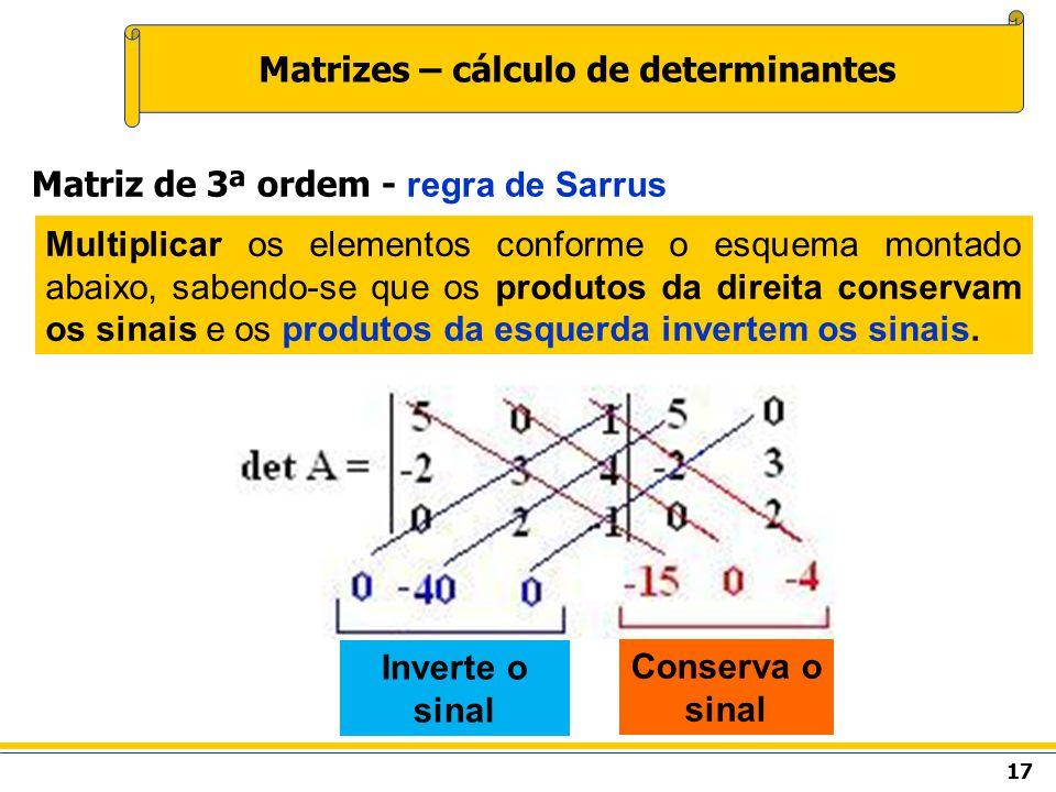 Matrizes – cálculo de determinantes