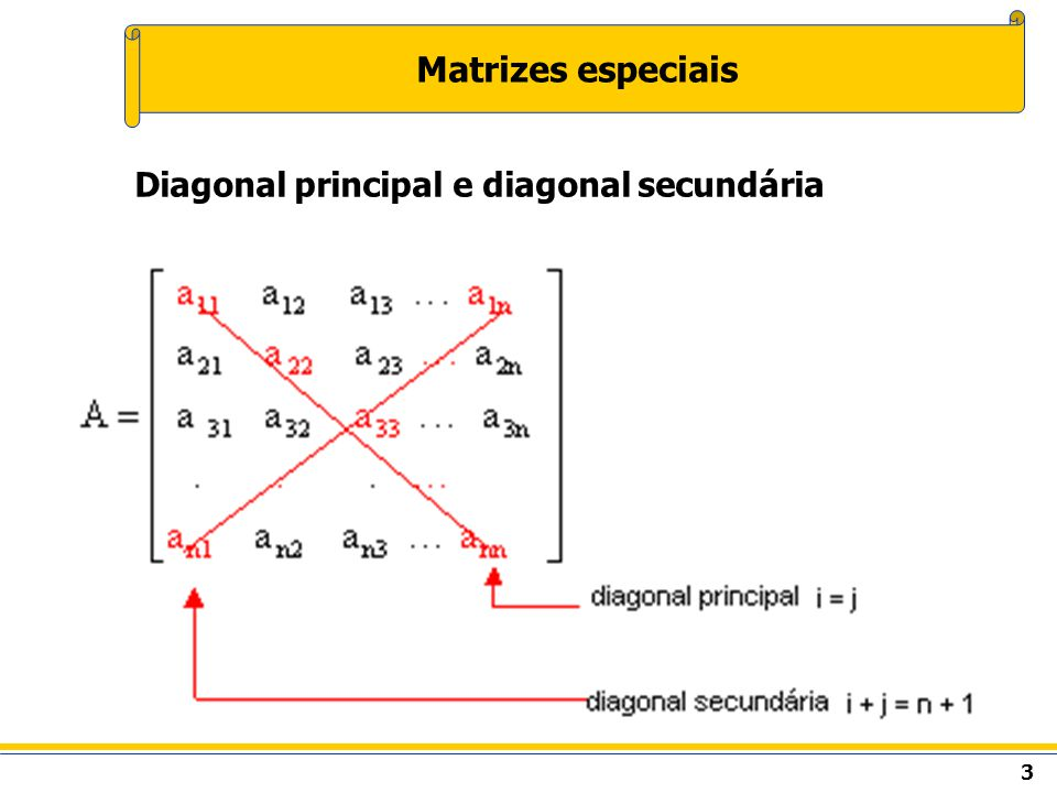 Matrizes especiais Diagonal principal e diagonal secundária