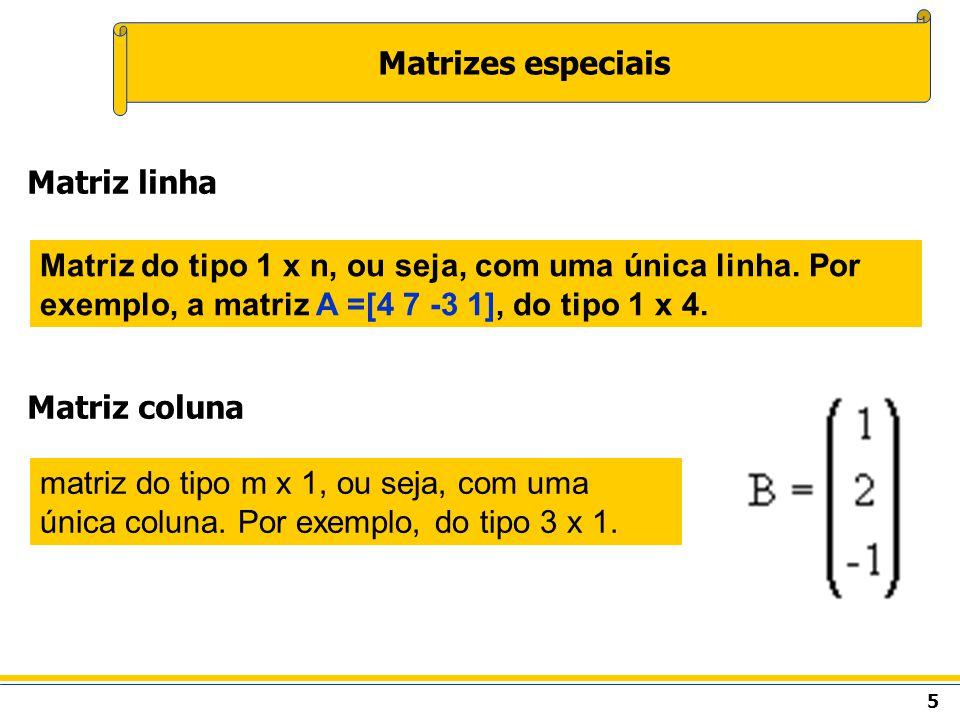 Matrizes especiais Matriz linha Matriz coluna