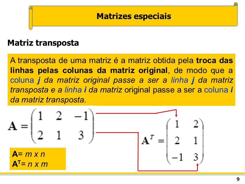 Matrizes especiais Matriz transposta