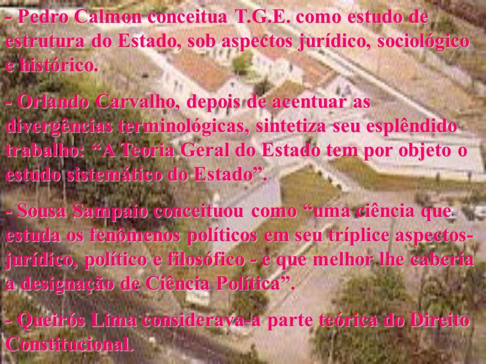 - Pedro Calmon conceitua T. G. E
