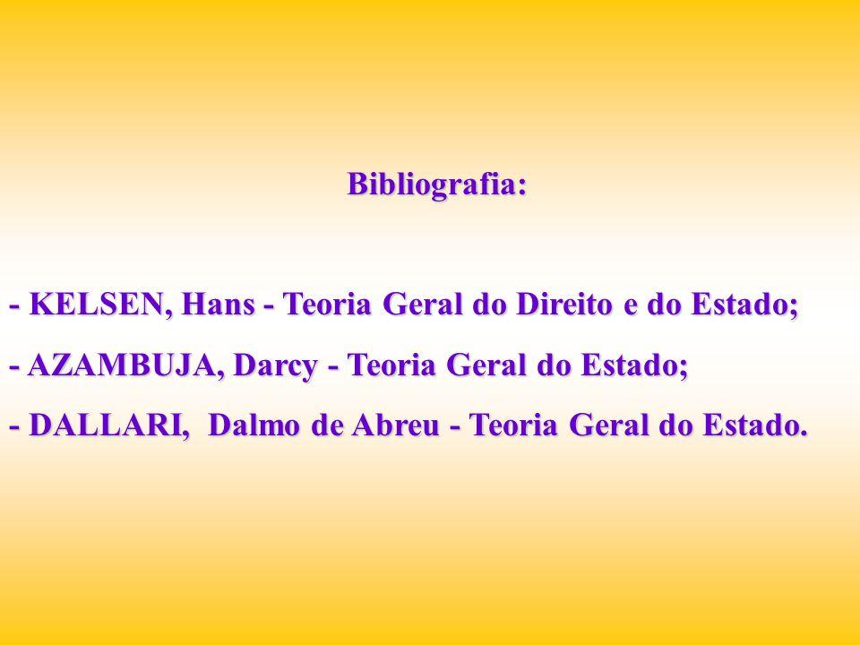 Bibliografia: - KELSEN, Hans - Teoria Geral do Direito e do Estado; - AZAMBUJA, Darcy - Teoria Geral do Estado;