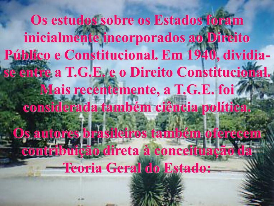 Os estudos sobre os Estados foram inicialmente incorporados ao Direito Público e Constitucional. Em 1940, dividia-se entre a T.G.E. e o Direito Constitucional. Mais recentemente, a T.G.E. foi considerada também ciência política.