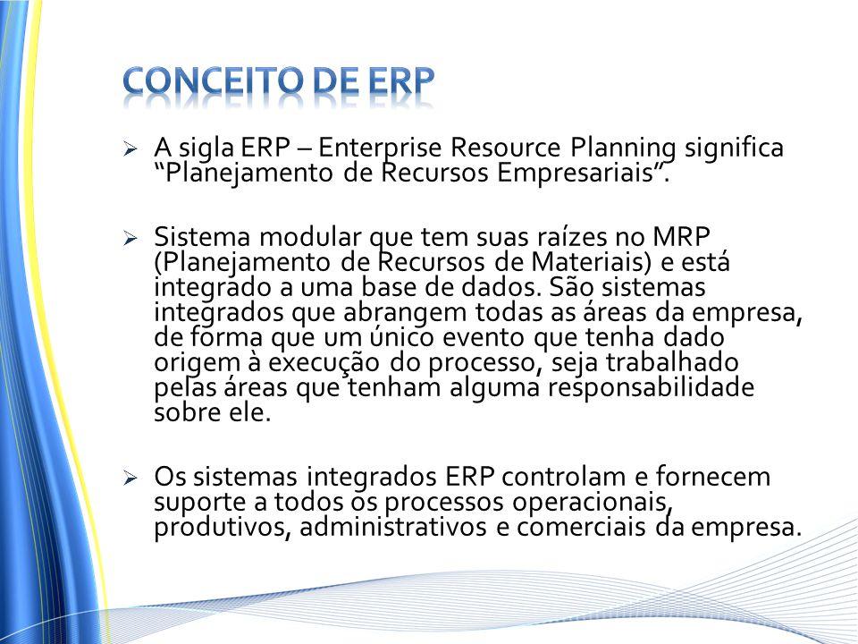 Conceito de erp A sigla ERP – Enterprise Resource Planning significa Planejamento de Recursos Empresariais .