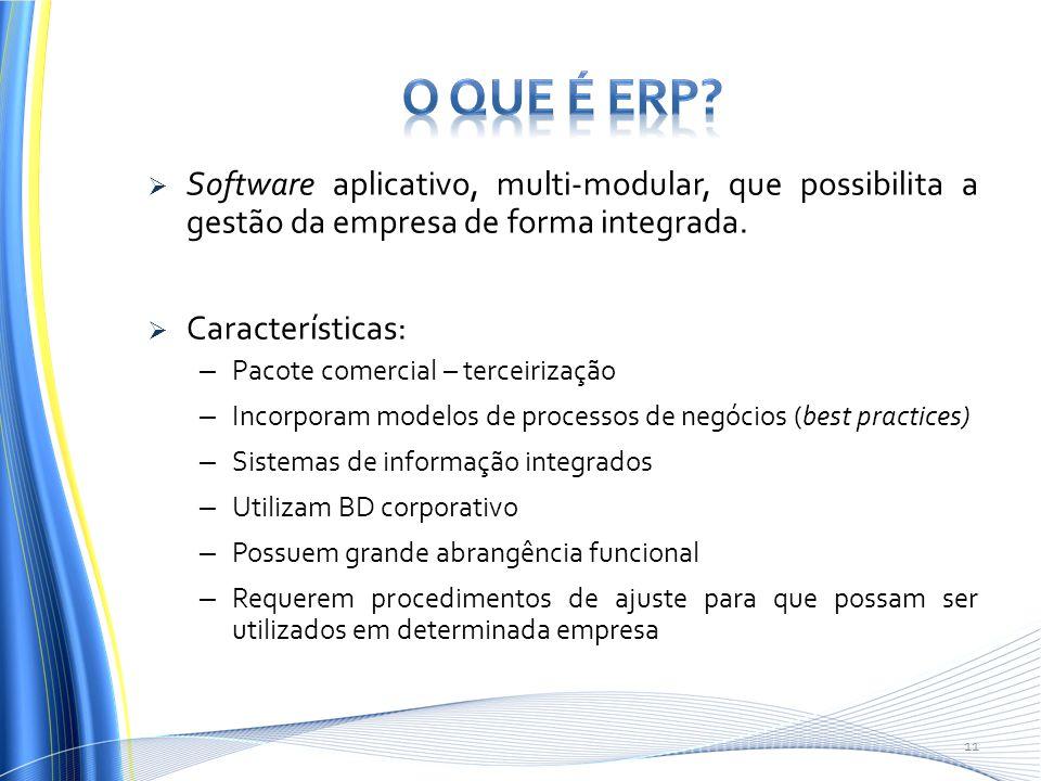 O que é ERP Software aplicativo, multi-modular, que possibilita a gestão da empresa de forma integrada.