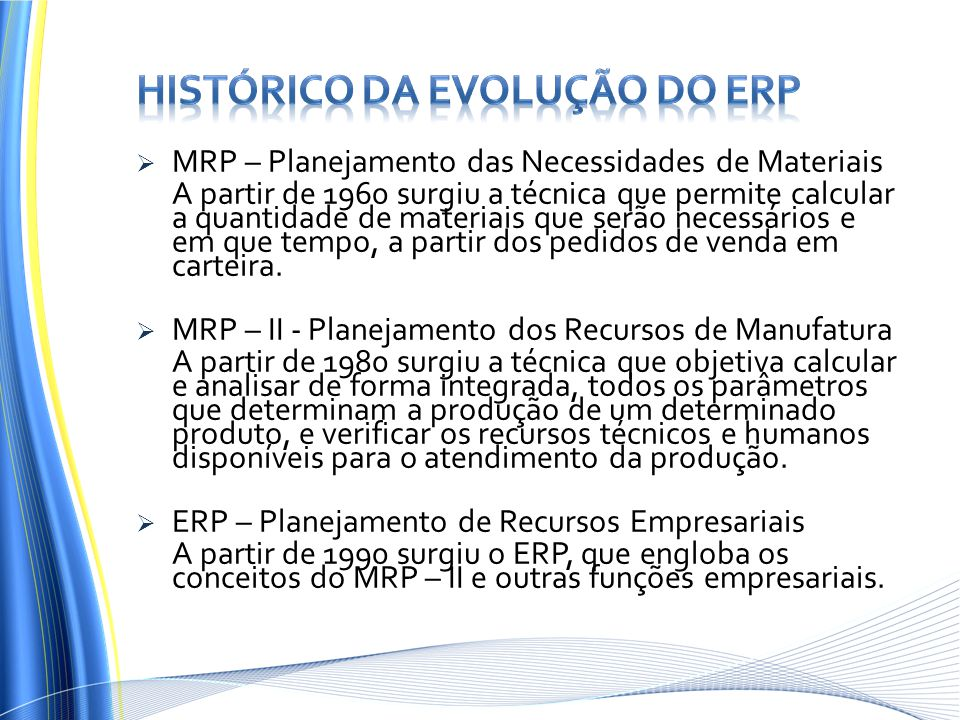 Histórico da evolução do erp