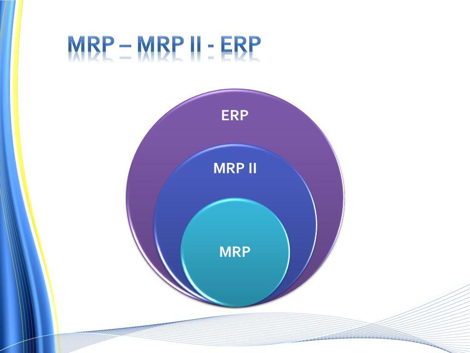 MRP – MRP II - ERP ERP MRP II MRP