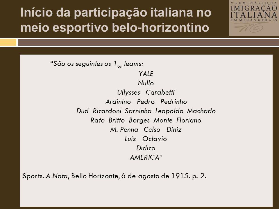 Início da participação italiana no meio esportivo belo-horizontino