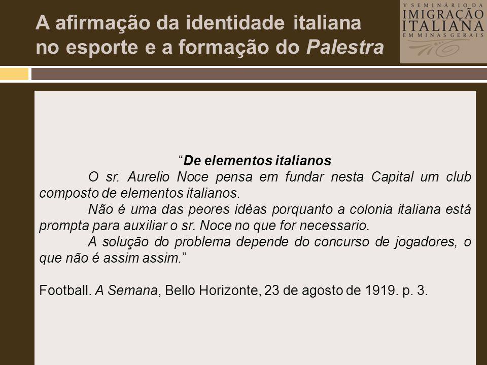 A afirmação da identidade italiana no esporte e a formação do Palestra