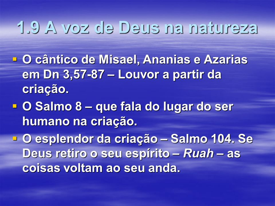 1.9 A voz de Deus na natureza