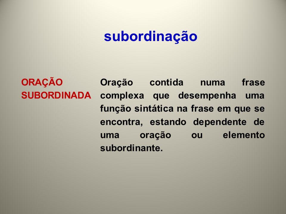 subordinação ORAÇÃO SUBORDINADA.