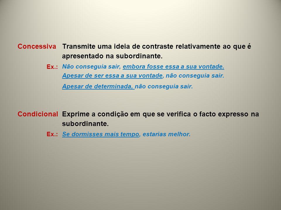 Concessiva Transmite uma ideia de contraste relativamente ao que é apresentado na subordinante. Ex.: