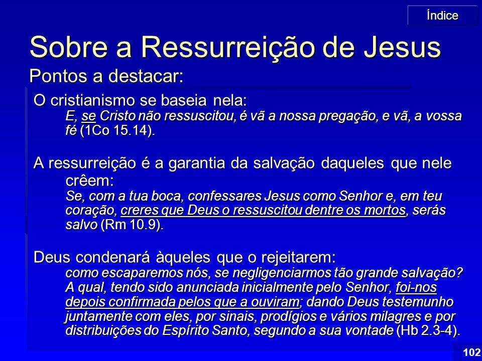 Sobre a Ressurreição de Jesus Pontos a destacar: