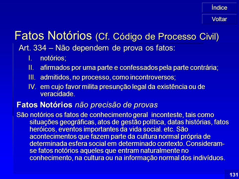 Fatos Notórios (Cf. Código de Processo Civil)
