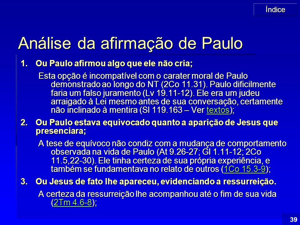 Análise da afirmação de Paulo