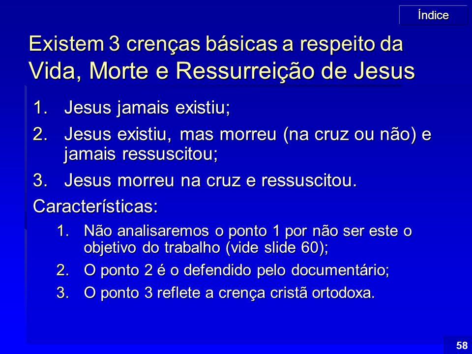 Existem 3 crenças básicas a respeito da Vida, Morte e Ressurreição de Jesus