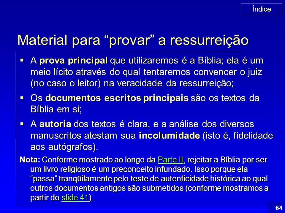 Material para provar a ressurreição