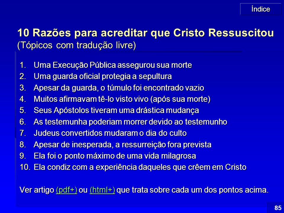 10 Razões para acreditar que Cristo Ressuscitou (Tópicos com tradução livre)