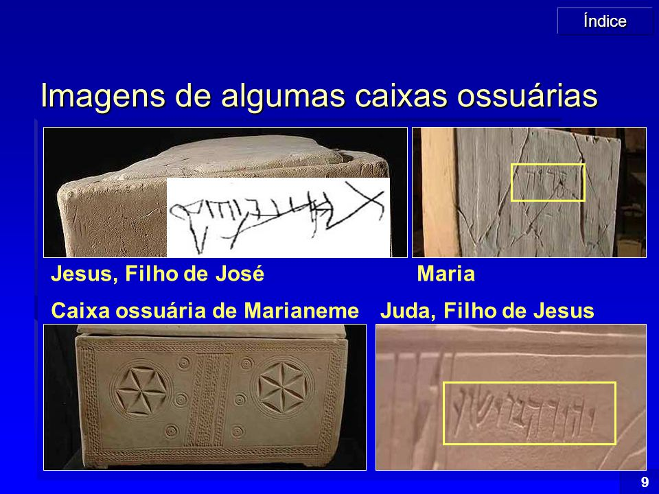 Imagens de algumas caixas ossuárias