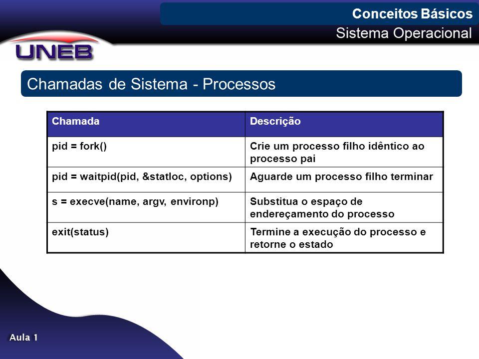 Chamadas de Sistema - Processos