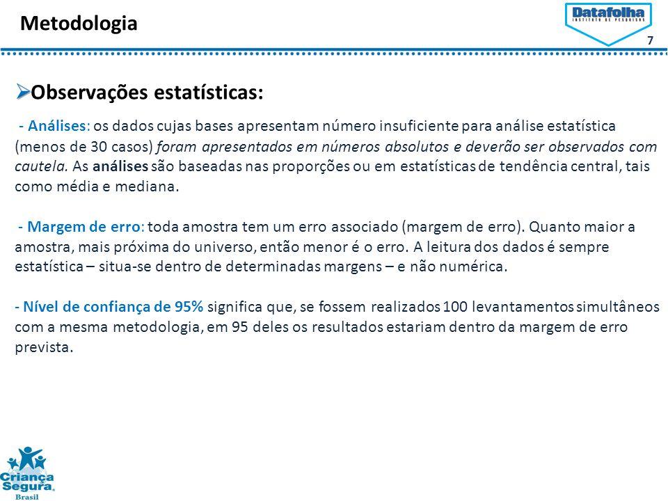Observações estatísticas: