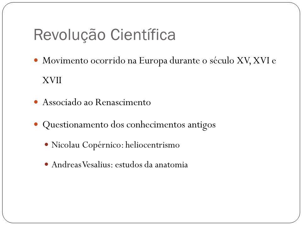 Revolução Científica Movimento ocorrido na Europa durante o século XV, XVI e XVII. Associado ao Renascimento.