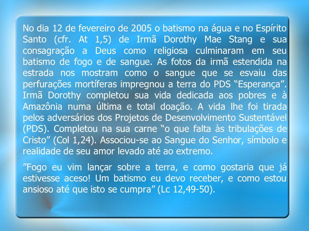 No dia 12 de fevereiro de 2005 o batismo na água e no Espírito Santo (cfr. At 1,5) de Irmã Dorothy Mae Stang e sua consagração a Deus como religiosa culminaram em seu batismo de fogo e de sangue. As fotos da irmã estendida na estrada nos mostram como o sangue que se esvaiu das perfurações mortíferas impregnou a terra do PDS Esperança . Irmã Dorothy completou sua vida dedicada aos pobres e à Amazônia numa última e total doação. A vida lhe foi tirada pelos adversários dos Projetos de Desenvolvimento Sustentável (PDS). Completou na sua carne o que falta às tribulações de Cristo (Col 1,24). Associou-se ao Sangue do Senhor, símbolo e realidade de seu amor levado até ao extremo.
