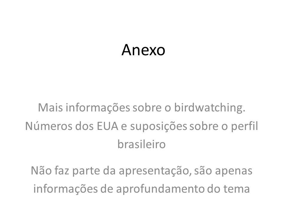 Anexo Mais informações sobre o birdwatching. Números dos EUA e suposições sobre o perfil brasileiro.