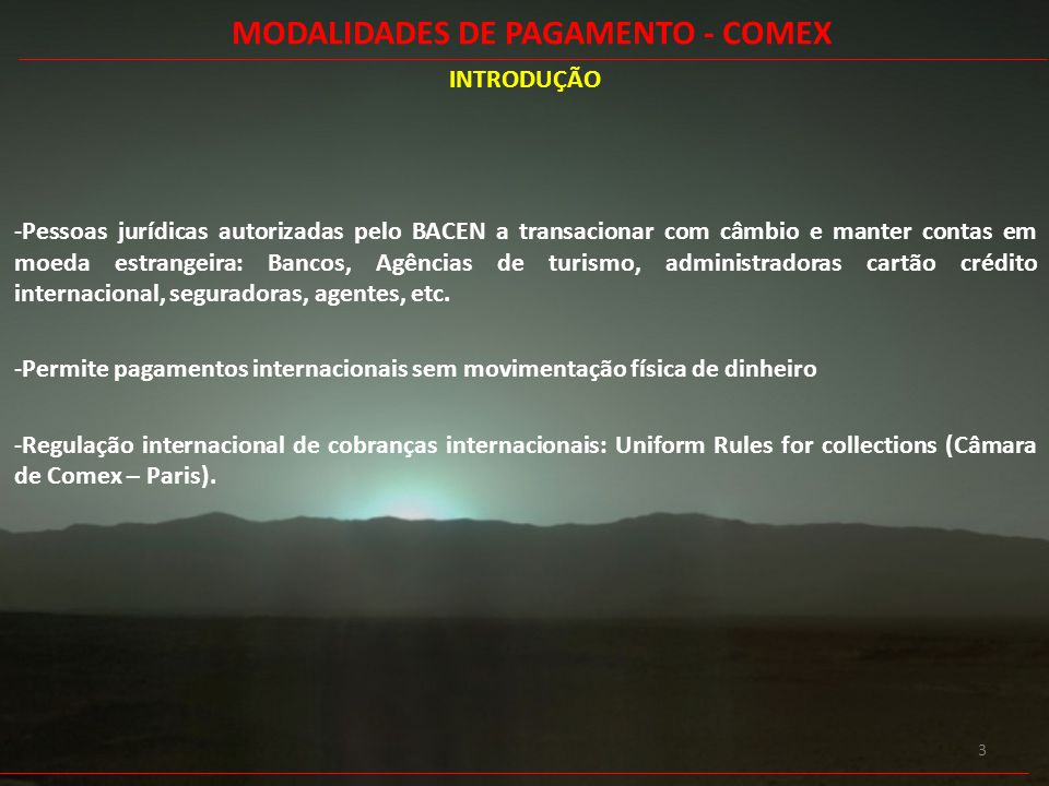 MODALIDADES DE PAGAMENTO - COMEX