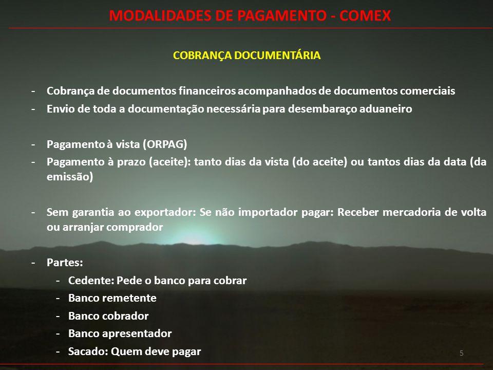 MODALIDADES DE PAGAMENTO - COMEX COBRANÇA DOCUMENTÁRIA