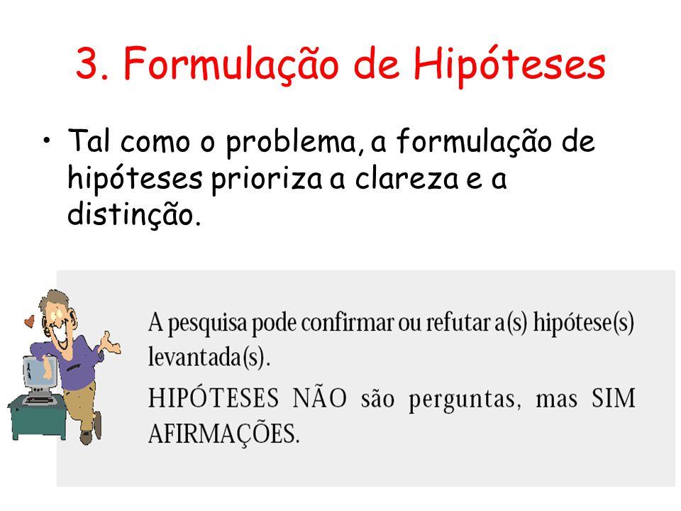 3. Formulação de Hipóteses