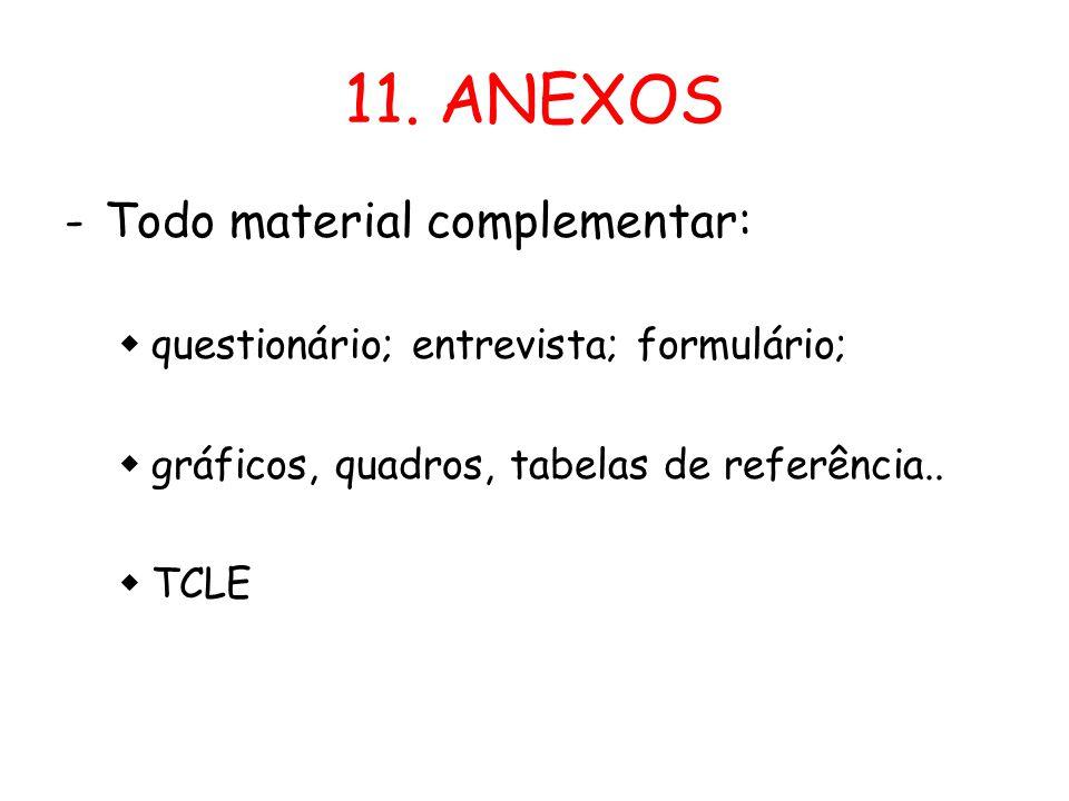 11. ANEXOS Todo material complementar: