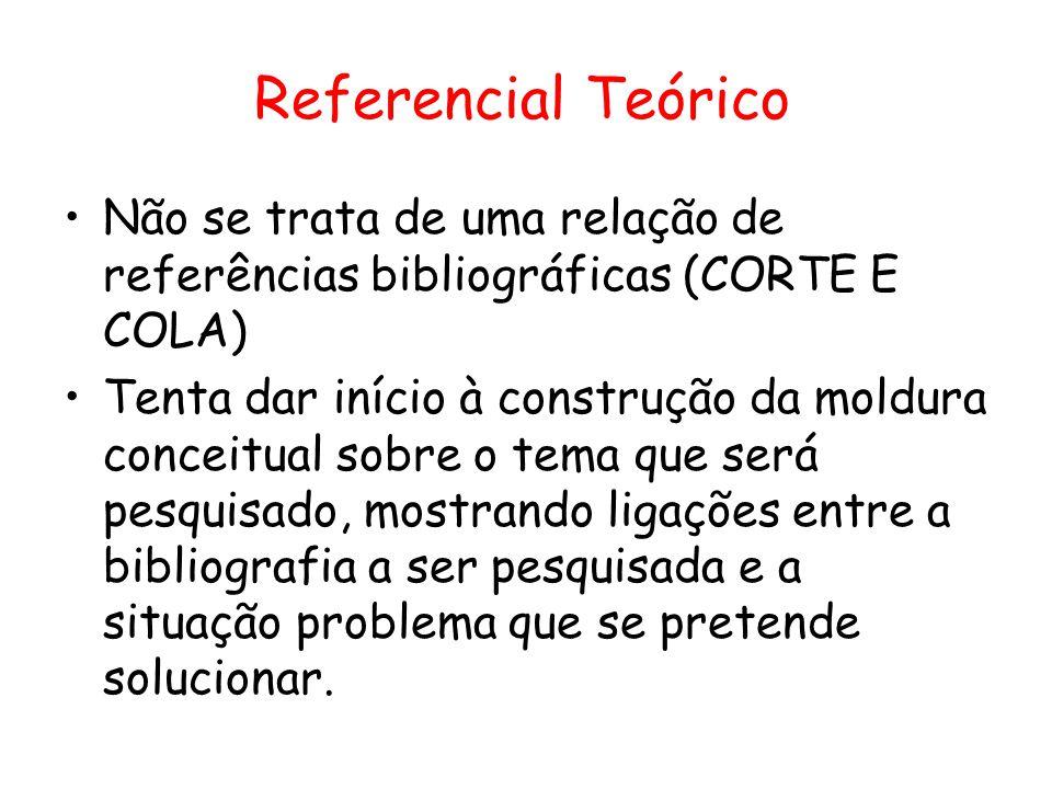 Referencial Teórico Não se trata de uma relação de referências bibliográficas (CORTE E COLA)