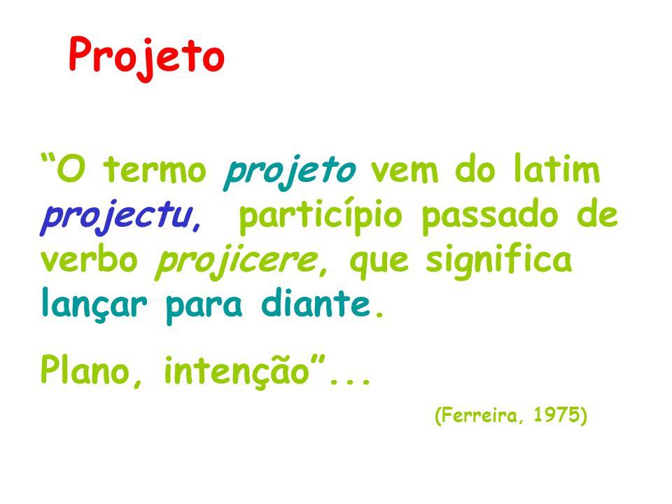 Projeto O termo projeto vem do latim projectu, particípio passado de verbo projicere, que significa lançar para diante.