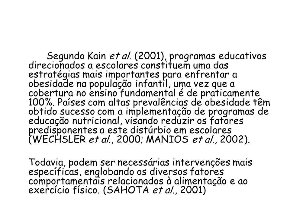 Segundo Kain et al. (2001), programas educativos direcionados a escolares constituem uma das estratégias mais importantes para enfrentar a obesidade na população infantil, uma vez que a cobertura no ensino fundamental é de praticamente 100%. Países com altas prevalências de obesidade têm obtido sucesso com a implementação de programas de educação nutricional, visando reduzir os fatores predisponentes a este distúrbio em escolares (WECHSLER et al., 2000; MANIOS et al., 2002).