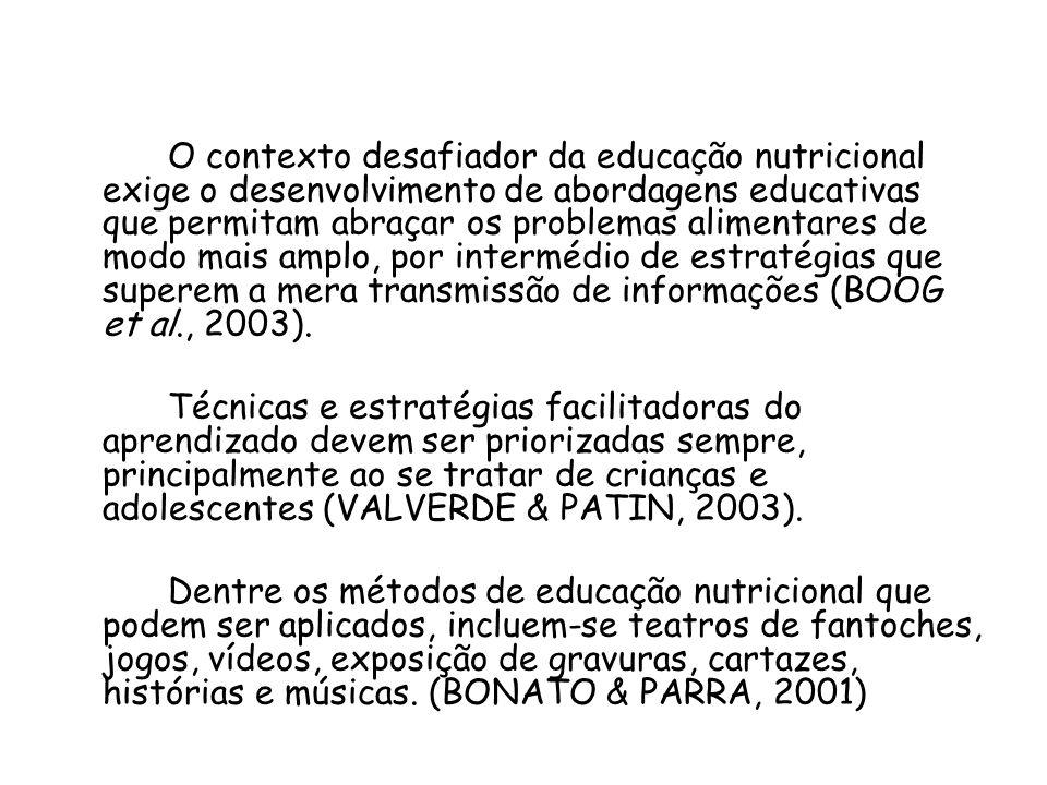 O contexto desafiador da educação nutricional exige o desenvolvimento de abordagens educativas que permitam abraçar os problemas alimentares de modo mais amplo, por intermédio de estratégias que superem a mera transmissão de informações (BOOG et al., 2003).