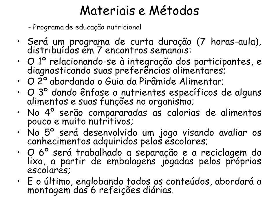 Materiais e Métodos Programa de educação nutricional. Será um programa de curta duração (7 horas-aula), distribuídos em 7 encontros semanais: