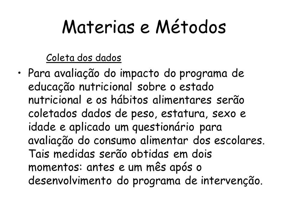 Materias e Métodos Coleta dos dados.