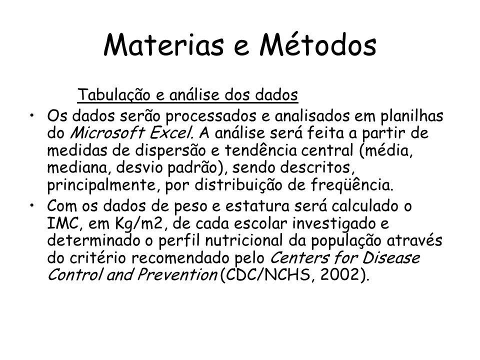 Materias e Métodos Tabulação e análise dos dados
