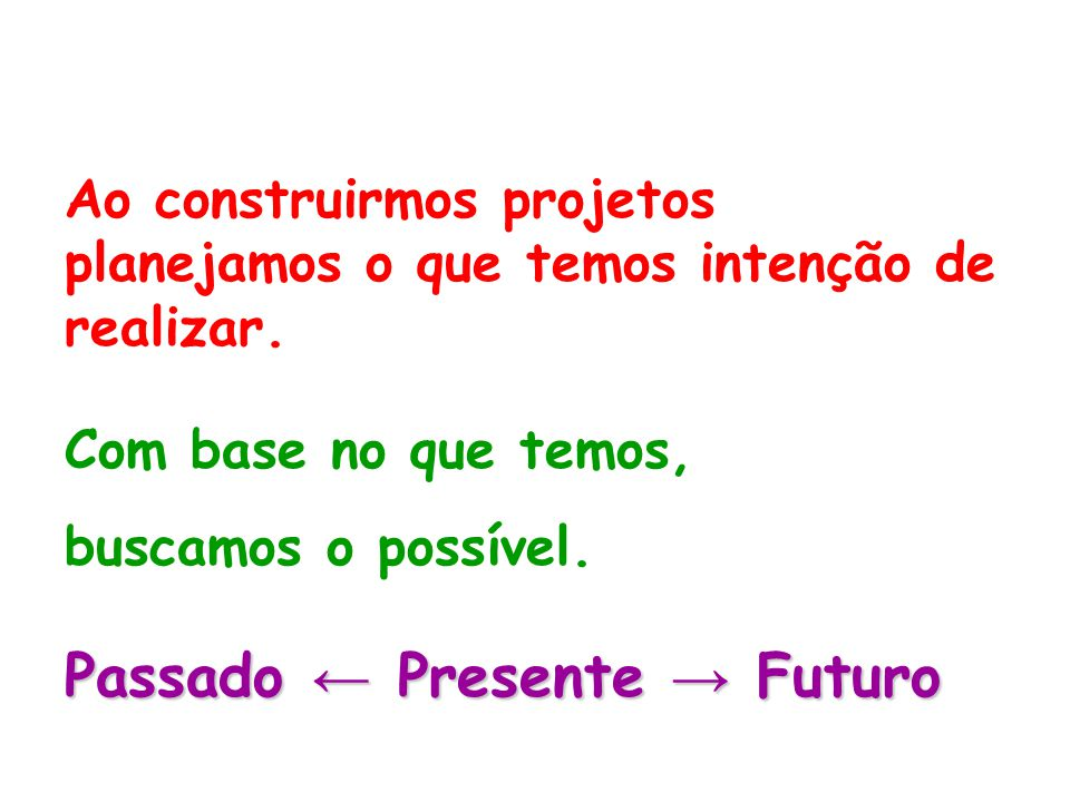 Passado ← Presente → Futuro