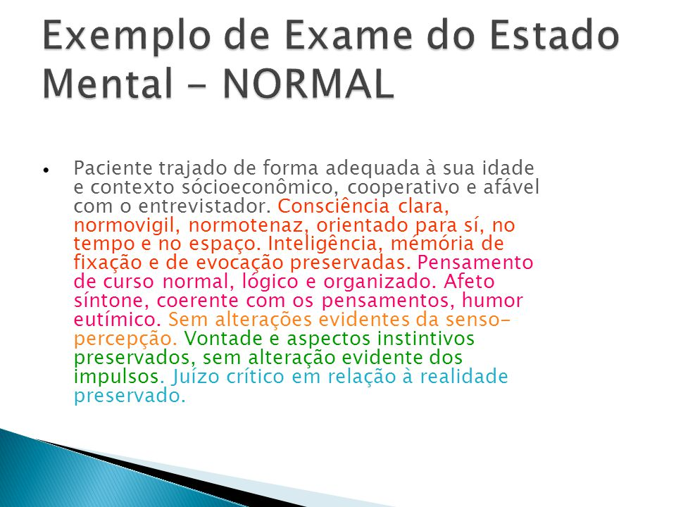 Exemplo de Exame do Estado Mental - NORMAL