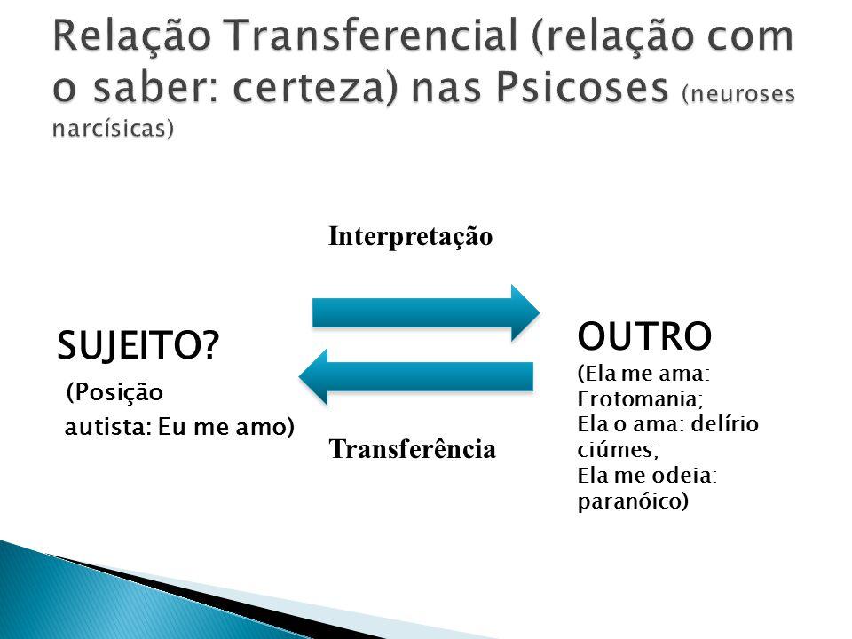 Relação Transferencial (relação com o saber: certeza) nas Psicoses (neuroses narcísicas)