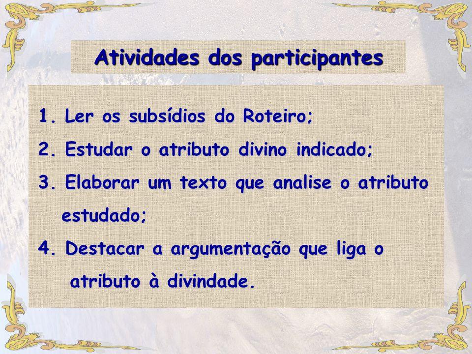 Atividades dos participantes