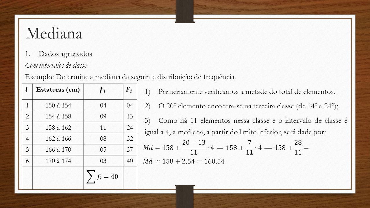Mediana Dados agrupados Com intervalos de classe