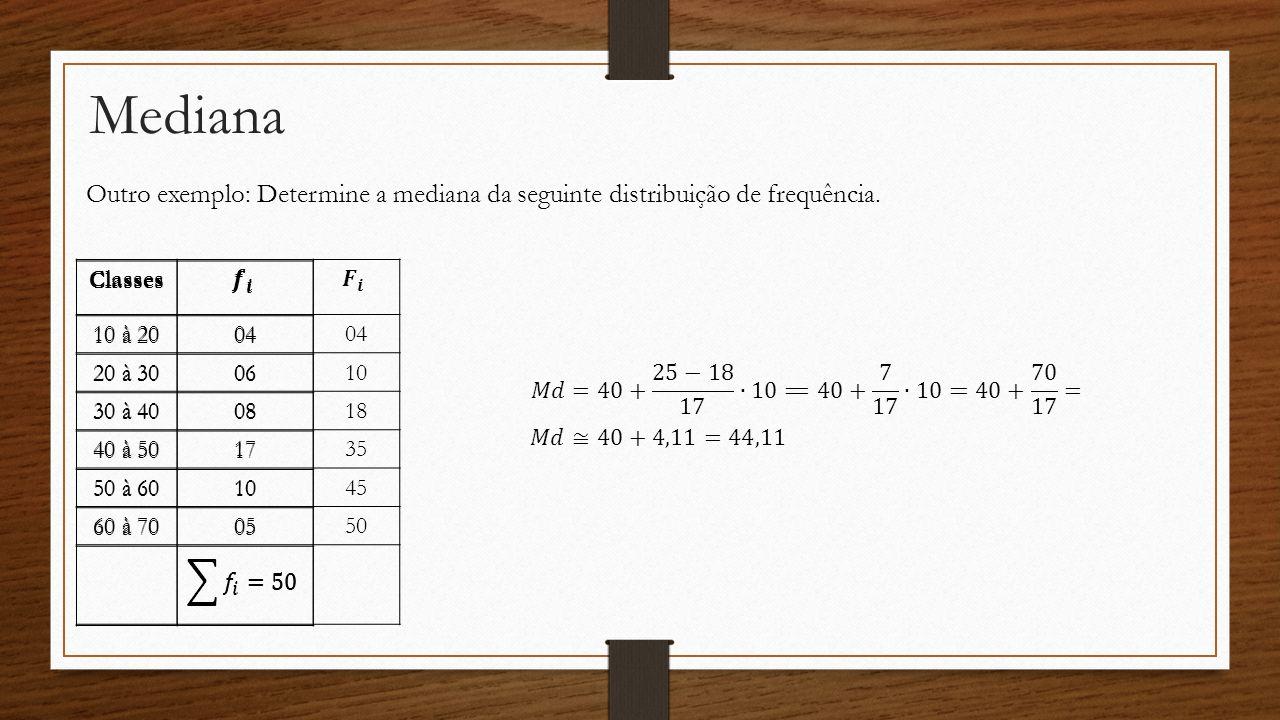 Mediana Outro exemplo: Determine a mediana da seguinte distribuição de frequência. Classes. 𝒇 𝒊. 𝑭 𝒊.